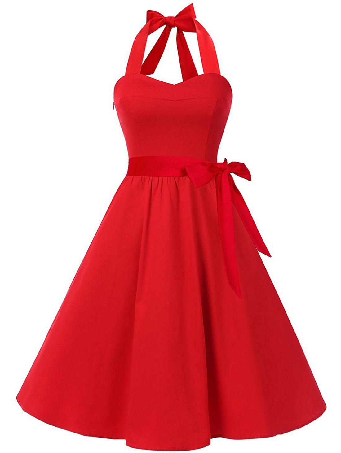 Retro Halter Lace Up Rockabilly Style Swing Dress - RED M