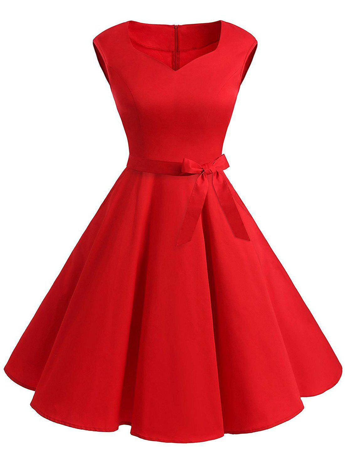 Robe Vintage Pin Up à Col en Forme de Cœur - Rouge XL