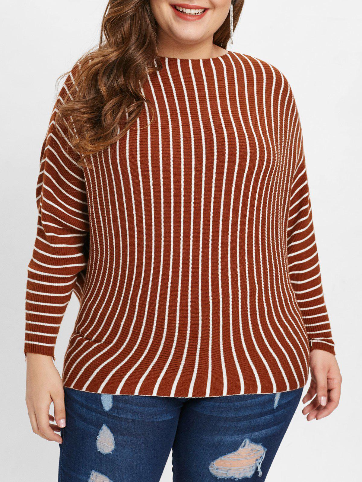 Plus Size Drop Shoulder Striped Pullover Sweater - COFFEE ONE SIZE
