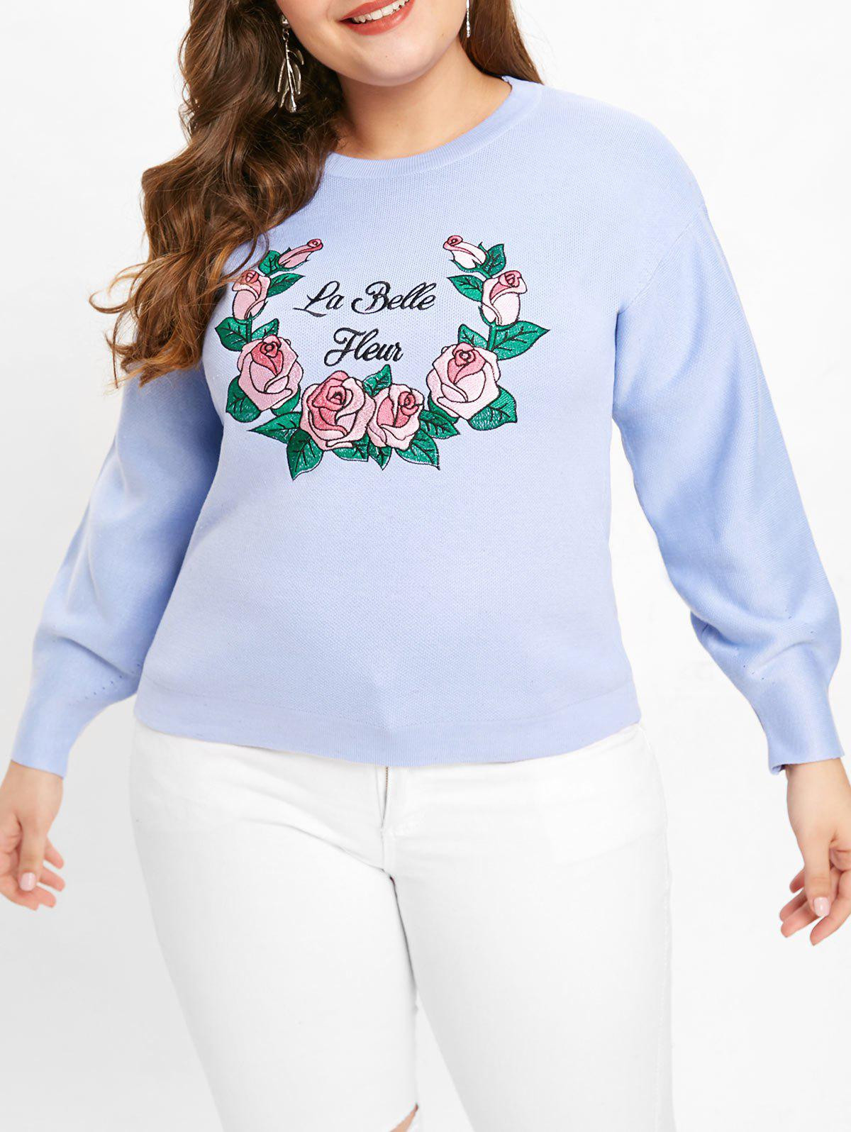 Plus Size Rose Embroidered Sweater - BABY BLUE L