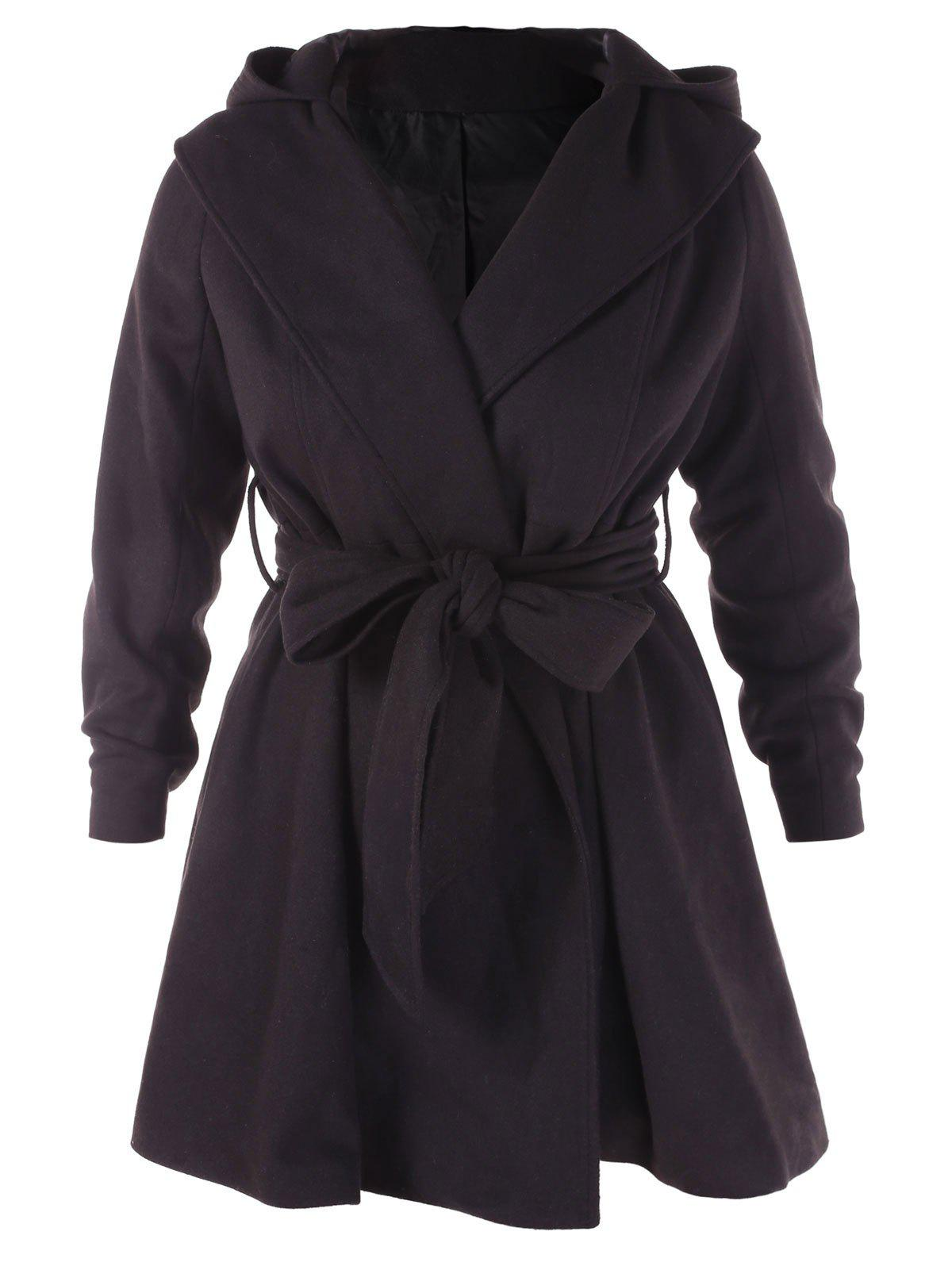 Plus Size Hooded Belt Wool Coat - BLACK 2X