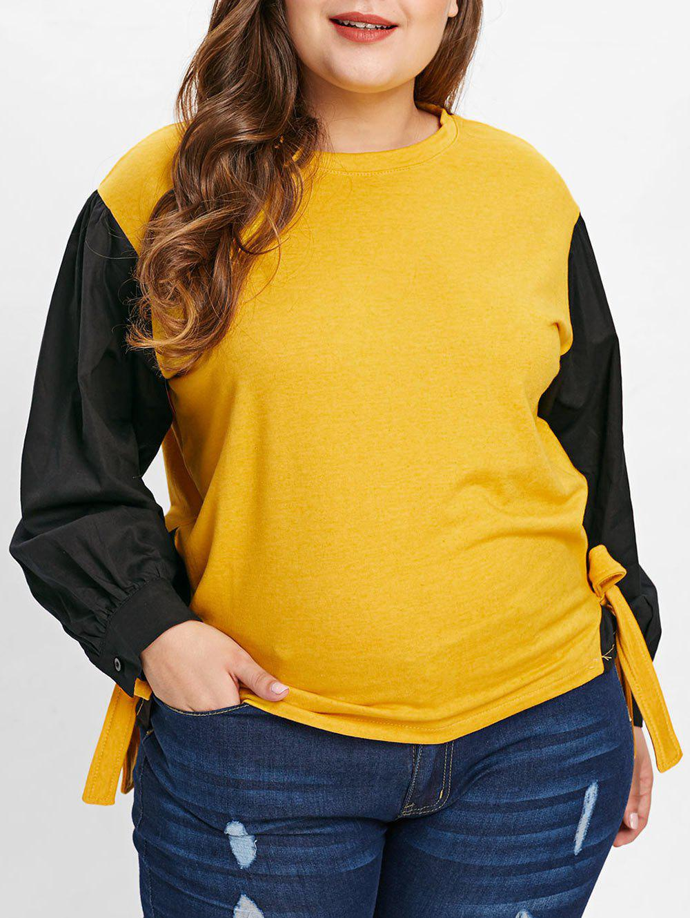 Plus Size Long Sleeve Tie Detail T-shirt - BRIGHT YELLOW 2X