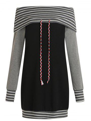 Stripe Trim Off The Shoulder Sweatshirt Dress