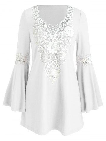 Crochet Panel Flare Sleeve Tunic Dress