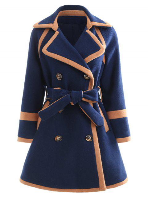 Hit Color Double Breasted Long Coat - DARK SLATE BLUE XL