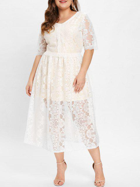 Plus Size Short Sleeve Lace Mid Calf Dress - WHITE 3X