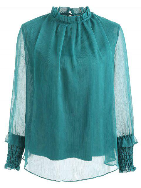 Ruff Neck Semi Sheer Chiffon Blouse - GREENISH BLUE XL