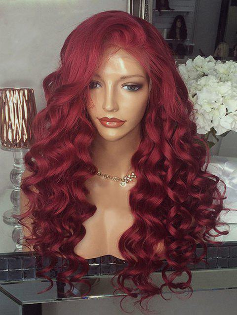 Long Free Part Body Wave Party Lace Front Synthetic Wig - RED WINE 26INCH