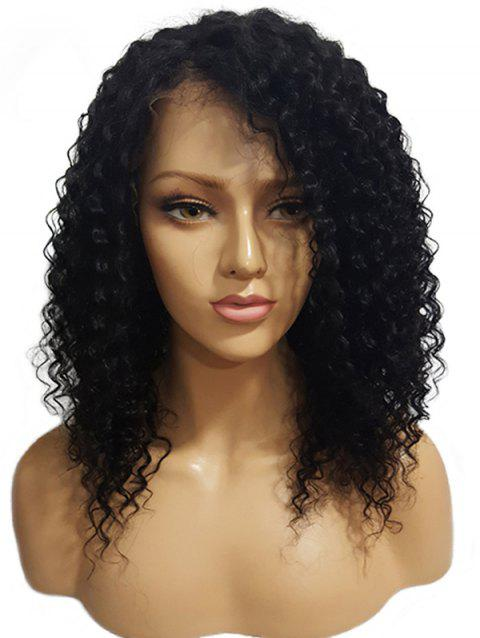 Long Side Bang Kinky Curly Synthetic Lace Front Wig - BLACK 20INCH