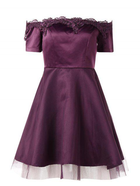 Lace Trim Off Shoulder Vintage Dress - PLUM VELVET M