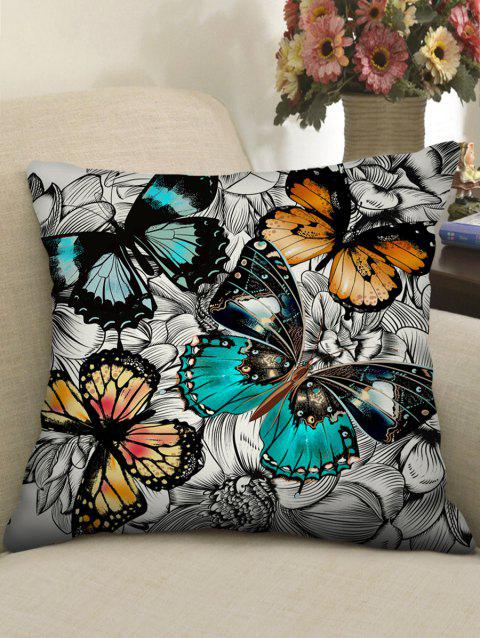 Butterfly and Flowers Print Decorative Sofa Pillowcase - multicolor W18 X L18 INCH