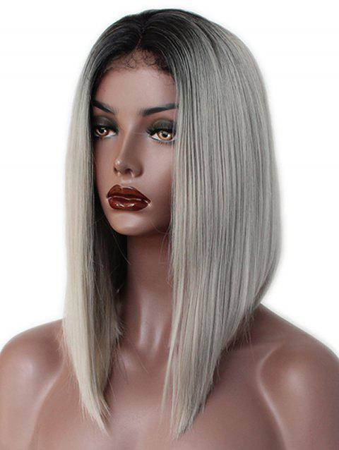 Medium Ombre Straight Inverted Bob Synthetic Lace Front Wig - multicolor 16INCH