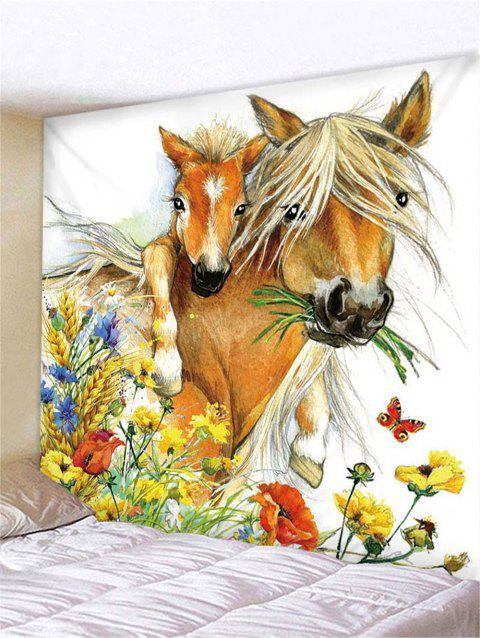 Horse and Flowers Print Tapestry Wall Hanging Decoration - multicolor W59 X L59 INCH