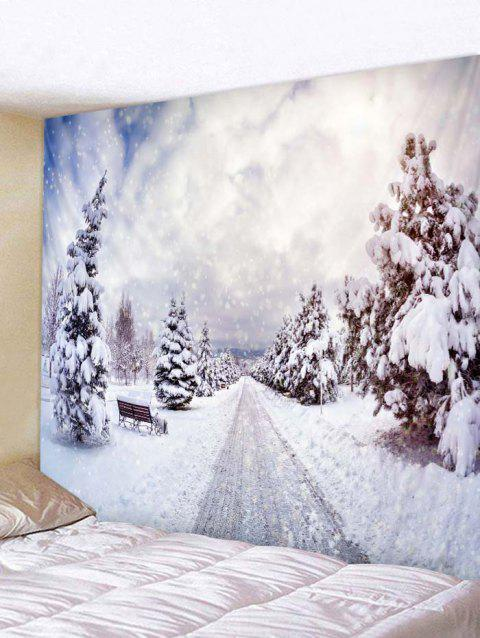 Snowy Forest Path Print Tapestry Wall Hanging Decoration - WHITE W79 X L71 INCH