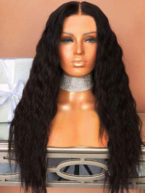 Middle Part Long Corn Hot Wavy Capless Synthetic Wig - BLACK