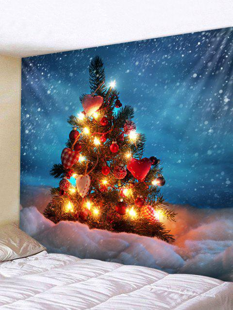 Christmas Tree Snowfield Print Tapestry Wall Hanging Decoration - multicolor W79 X L71 INCH