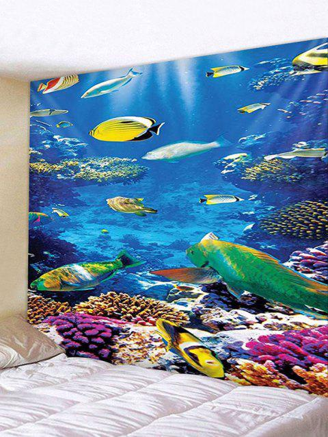 Underwater Fish Print Tapestry Wall Hanging Decoration - multicolor W91 X L71 INCH
