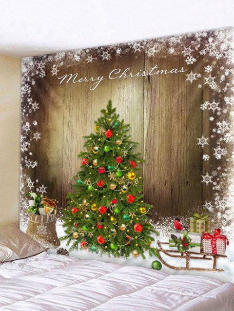 Christmas Tree Wood Board Print Tapestry Wall Hanging Decoration - multicolor W59 X L51 INCH