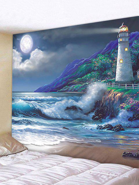 Seaside Night Lighthouse Print Tapestry Wall Hanging Decoration - multicolor W59 X L51 INCH