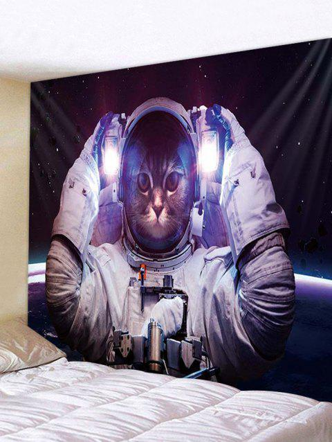 Astronaut Cat Print Tapestry Wall Hanging Decoration - multicolor W79 X L71 INCH