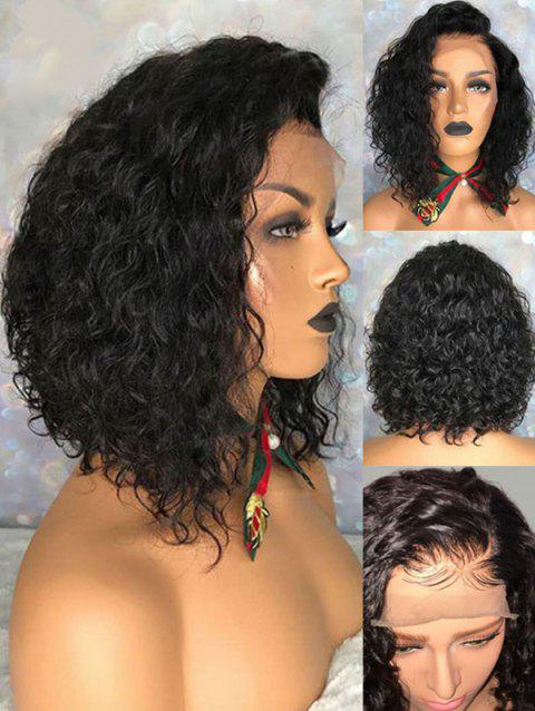 Short Side Bang Curly Synthetic Lace Front Wig - BLACK 14INCH