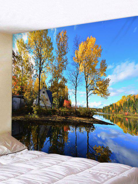 Waterside Forest Print Tapestry Wall Hanging Decoration - multicolor W79 X L71 INCH