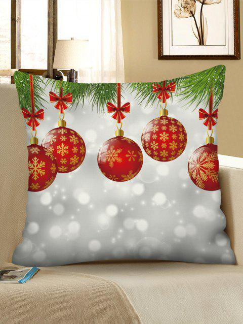 Christmas Ball Print Decorative Sofa Pillowcase - multicolor W18 X L18 INCH
