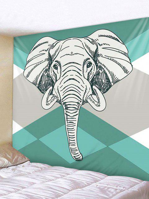 Elephant Geometric Print Tapestry Wall Hanging Decoration - multicolor W59 X L59 INCH