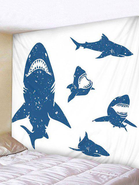 Shark Print Tapestry Wall Hanging Decoration - multicolor W79 X L71 INCH