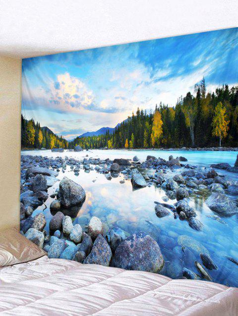 Forest Stone River Print Tapestry Wall Hanging Decoration - multicolor W59 X L59 INCH