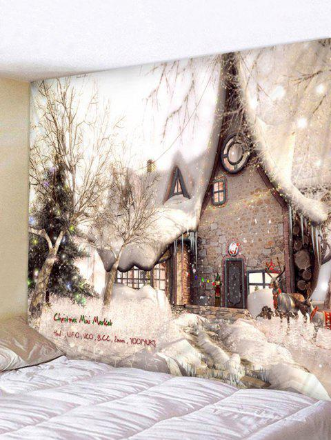 Christmas House Print Tapestry Wall Hanging Decoration - multicolor W59 X L59 INCH