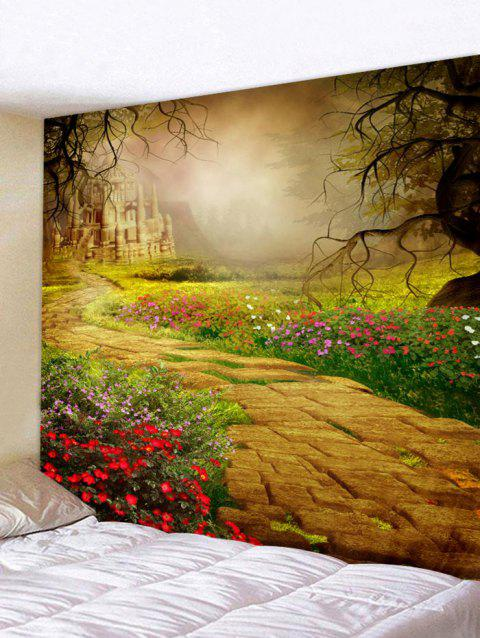 Garden Castle Print Tapestry Wall Hanging Decoration - multicolor W91 X L71 INCH