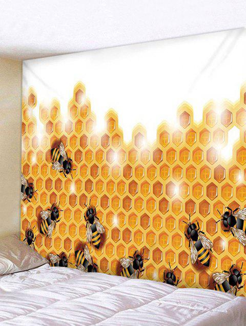 Honeycomb Bees Print Tapestry Wall Hanging Decoration - multicolor W91 X L71 INCH
