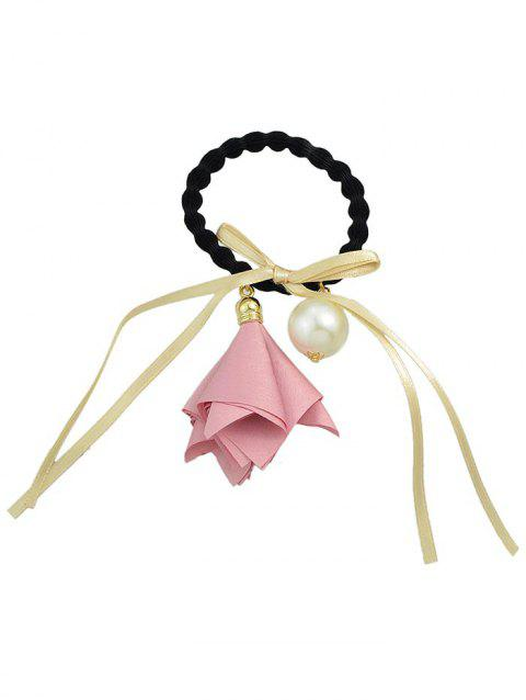Flower Bowknot Artificial Pearl Decoration Elastic Hair Band - PINK