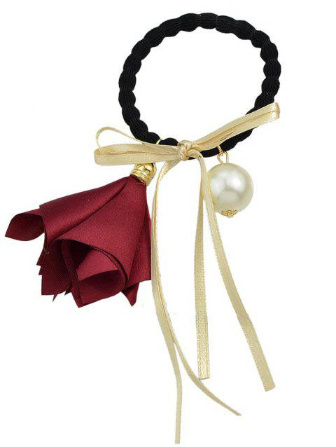 Flower Bowknot Artificial Pearl Decoration Elastic Hair Band - RED WINE