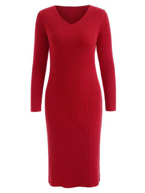 Long Sleeve Knit Ribbed Dress - LAVA RED L