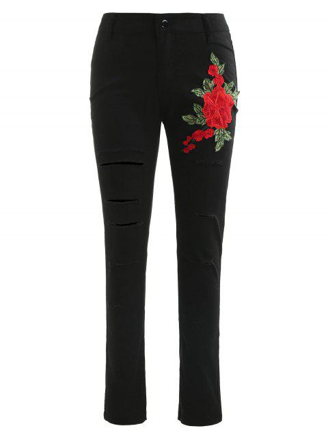 Floral Embroidered Distressed Pants - BLACK L