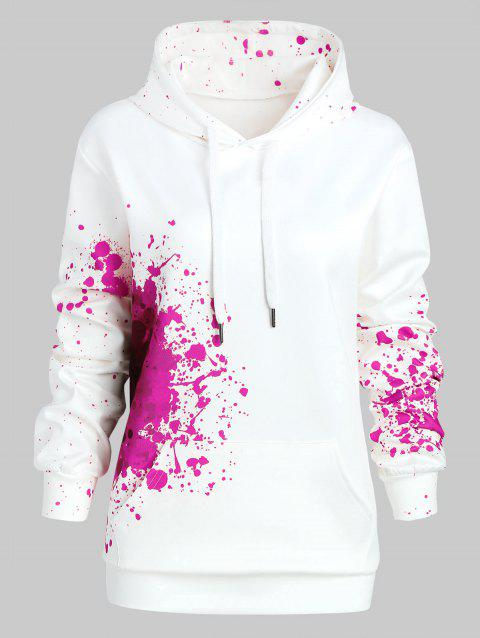 Plus Size Splatter Halloween Theme Hoodie - ROSE RED 1X