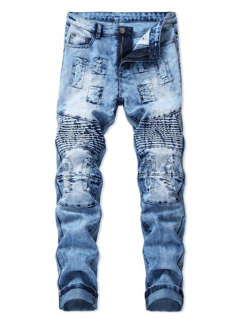Destroyed Light Wash Biker Jeans - PASTEL BLUE 32