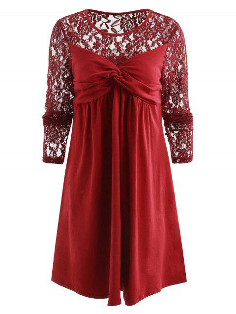 Twisted Bust Long Sleeve Tank Dress - RED WINE 2XL