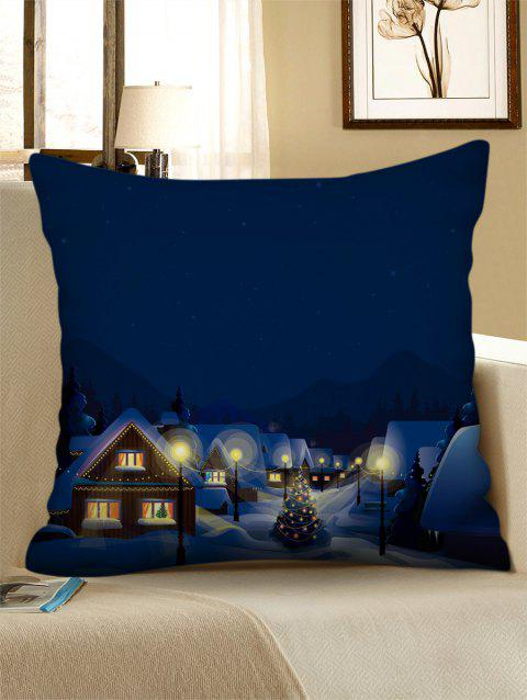 Christmas Night Village Print Decorative Sofa Pillowcase - multicolor W18 X L18 INCH