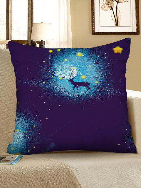 Christmas Deer Star Print Decorative Sofa Pillowcase - multicolor W18 X L18 INCH