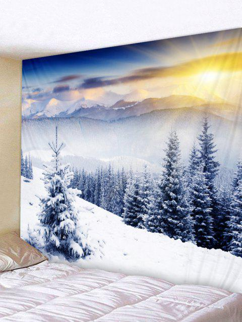 Snow Mountains Forest Print Tapestry Wall Hanging Decoration - WHITE W91 X L71 INCH
