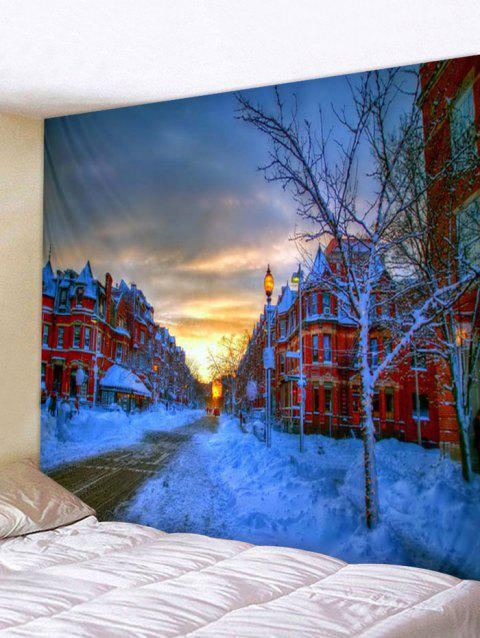 City Snow Street Print Tapestry Wall Hanging Art Decoration - multicolor W59 X L59 INCH