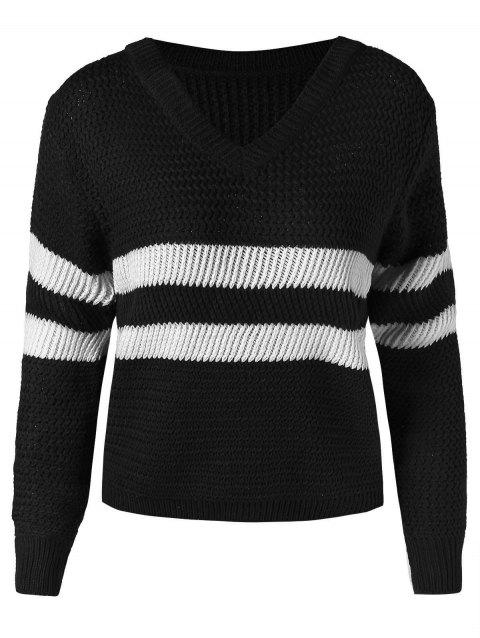 Two Tone Short Sweater with V Neck - BLACK ONE SIZE