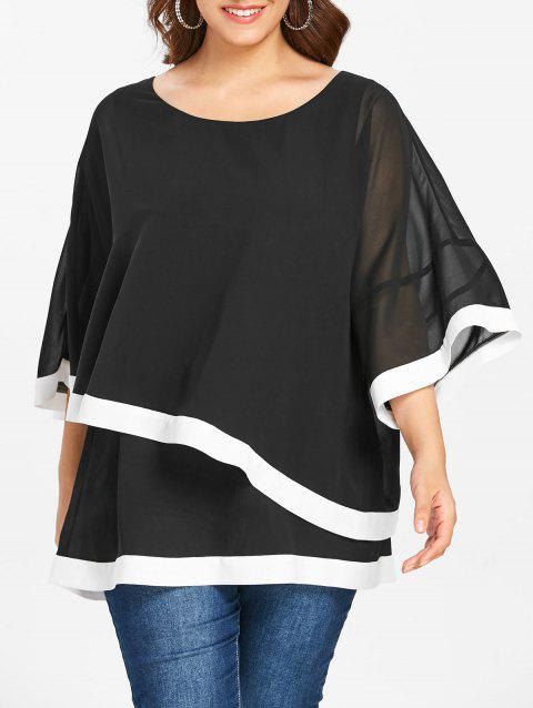 Plus Size Contrast Trim Overlay Chiffon Top - BLACK 3X