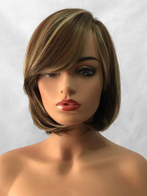 Short Side Bang Colormix Straight Bob Capless Synthetic Wig - multicolor A