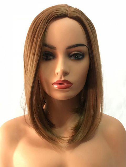 Short Capless Side Parting Straight Synthetic Wig - multicolor