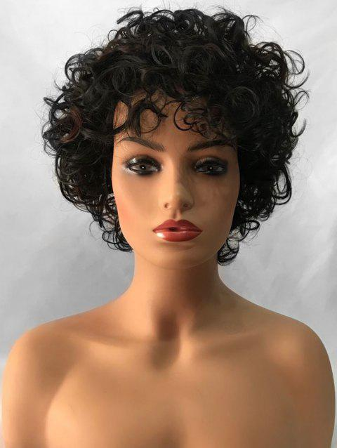 Inclined Bang Shaggy Short Curly Synthetic Wig - multicolor
