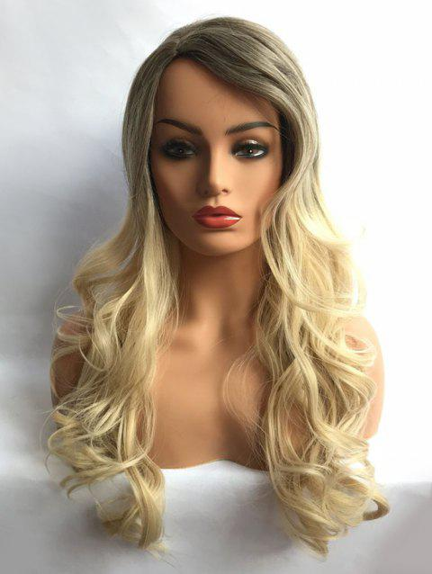 Long Inclined Bang Wavy Party Colormix Synthetic Wig - multicolor